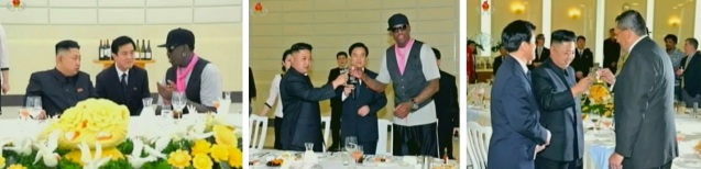 Kim Jong Un converses with Dennis Rodman (L) then engages in a round of toasts with Rodman (C) and other guests (Photos: KCTV screengrabs)