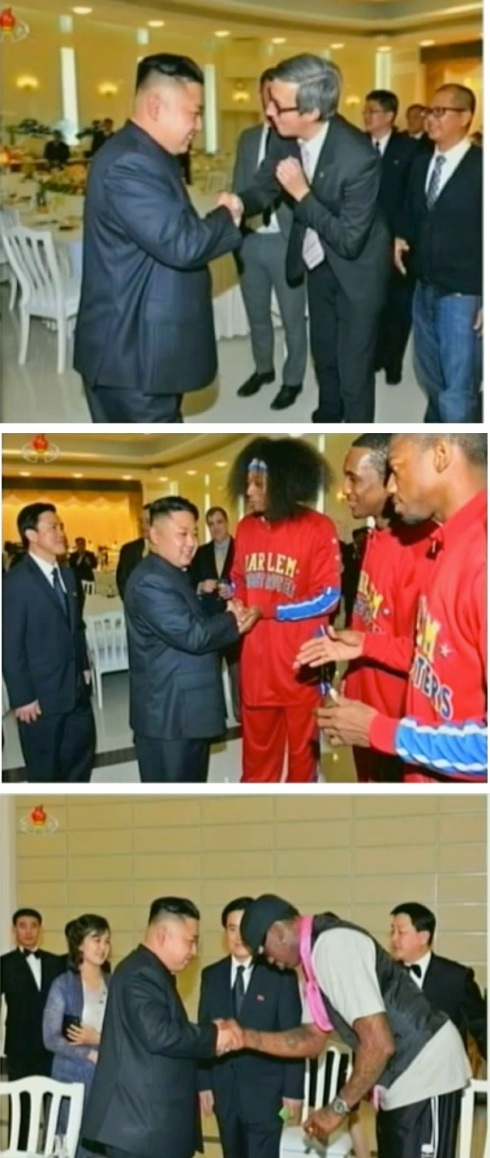Kim Jong Un greets members of the US basketball delegation at a banquet hosted by the DPRK Olympic Committee (top and middle) and KJU and Dennis Rodman bow (below) prior to Rodman's departure from the banquet hall (Photos: KCTV screengrab)