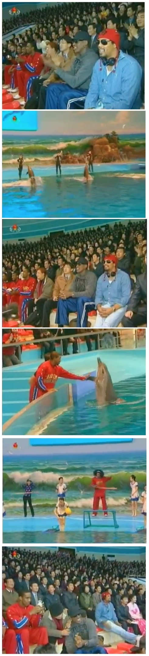 Dennis Rodman, Harlem Globetrotters and other members fo the US basketball delegation watch and participate in a show at the Rungra Dolphinarium in Pyongyang on 1 March 2013 (Photos: KCTV screengrabs)