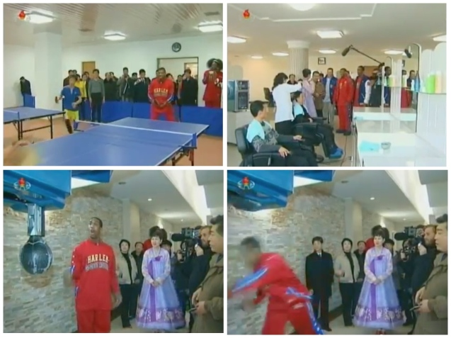 Harlem Globetrotters and members of the US basketball delegation visit a health complex in Pyongyang on 1 March 2013 (Photos: KCTV screengrabs)
