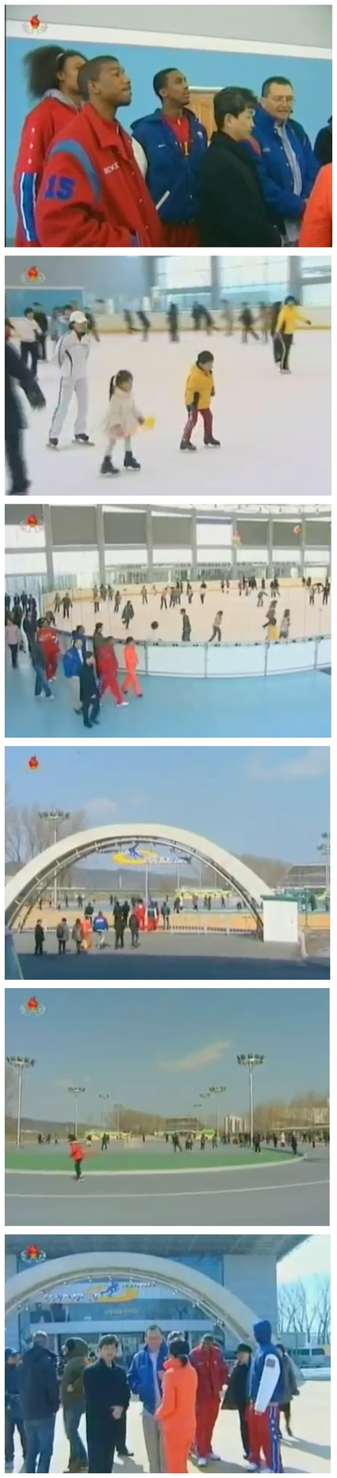 Members of the Harlem Globetrotters tour the Indoor Ice Rink and Pyongyang Skate Park on 1 March 2013 (Photos: KCTV screengrabs)