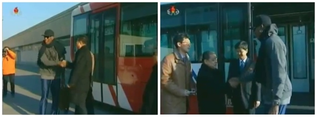 Dennis Rodman shakes hands with Son Kwang Ho  (L) and other DPRK officials (R) prior to departing the DPRK on1 March 2013 (Photos: KCTV screengrabs)