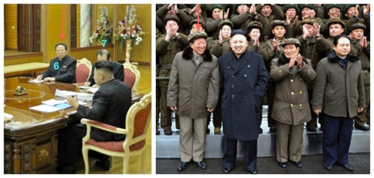 Hong Sung Mu (annotated) attends a 14 December 2012 visit with Kim Jong Un to Sohae Space Center after the 12 December 2012 U'nha-3 rocket launch, and attending a January 2013 meeting with KJU of foreign affairs and security officials (Photos: KCNA and KCTV)