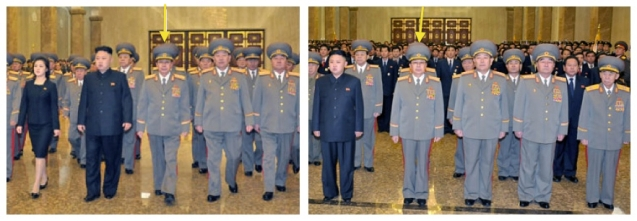 Jang Song Taek (in a KPA dress uniform) at KJU's visit to Ku'msusan on 16 Feburary 2013 (L) and on 24 December 2012 (R) (Photos: Rodong Sinmun)