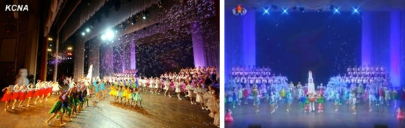 10 February 2013 Lunar New Year's concert including a musical number including costumed character that anthropomorphizes the U'nha-3 rocket (Photos: KCNA/KCTV screengrab)