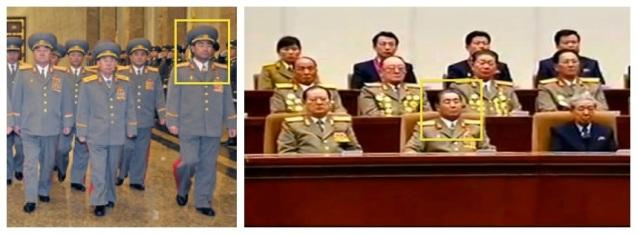 Kim Jong Gak visits Ku'msusan on 16 February 2013 (L) and attends a national report meeting commemorating KJI's birth anniversary on 15 February 2013 (Photos: Rodong Sinmun and KCTV screengrab)