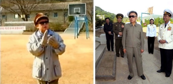Basketball hoops positioned behind Kim Jong Il in state media images from a December 2008 inspection of KPA Air Force Unit #1016 and a visit to the Kim Jong Suk Naval Academy in 2009 (Photos: KCTV screengrab, KCNA)