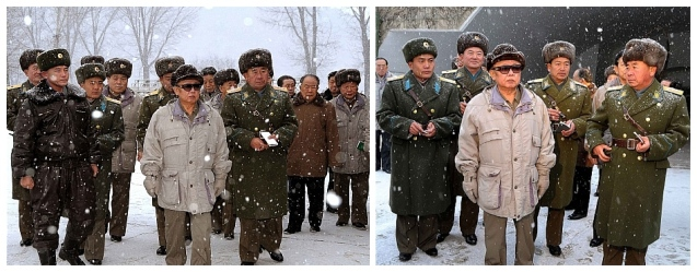 Kim Jong Il inspects KPA Unit #323 in December 2008.  At that appearance he was accompanied by (currently military ranks), VMar Kim Jong Gak, VMar Hyon Chol Hae, Gen. Kim Myong Guk, Jang Song Taek, Hwang Pyong So, Ri Jae Il and the late Ri Yong Chol (Photos: KCNA)