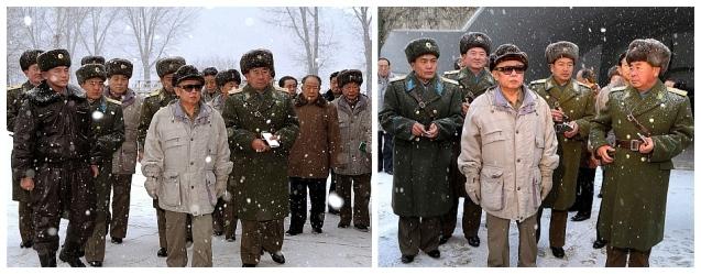 Kim Jong Il inspects KPA Unit #323 in December 2008.  At that appearance he was accompanied by (currently military ranks), VMar Kim Jong Gak, VMar Hyon Chol Hae, Gen. Kim Myong Guk, Jang Song Taek, Hwang Pyong So, Ri Jae Il and the late Ri Yong Chol (Photos: KCNA)
