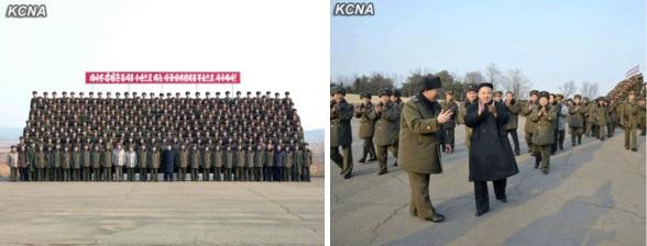 Kim Jong Un participates in a commemorative photo session after live fire artillery exercises (Photos: KCNA)