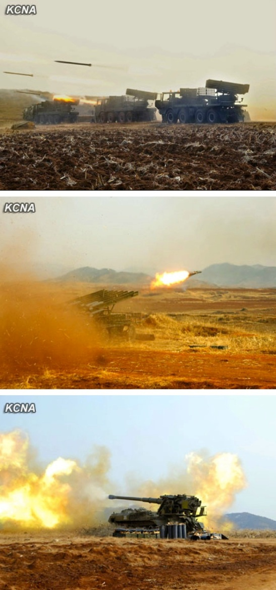 View of artillery exercises ordered and observed by Kim Jong Un (Photos: KCNA)