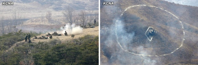 KPA service members participate in live fire artillery exercises (L) and hit a target (R) (Photos: KCNA)