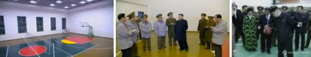 Kim Jong Un inspects a multi-purpose gymnasium with a basketball court at Mangyo'ngdae Revolutionary School, and bounces a basketball during another visit, in 2012 (Photos: KCTV screengrabs, KCNA-Yonhap file photo)