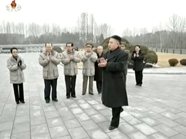Members of the DPRK's core leadership applaud prior to commemorative photo session with personnel involved in the 12 February 2013 nuclear test.  Seen in attendance is Kim Kyong Hui (L), Pak To Chun (2nd L) Jang Song Taek (3rd L), VMar Choe Ryong Hae (4th L) and DPRK Premier Choe Yong Rim (5th L) (Photo: KCTV screengrab)