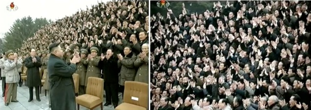 Kim Jong Un (L) applauds after a commemorative photo session with personnel involved in the DPRK's third nuclear weapons test (R) (Photo: KCTV screengrabs)
