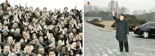 Personnel involved in the 12 February 2013 nuclear weapons test (L) applaud prior to Kim Jong Un's departure (R) after the commemorative photo session (Photos: KCTV screengrabs)