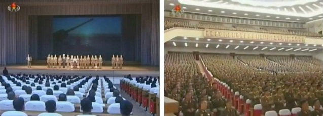 30 October 2012 meeting of war veterans and the leading officials of Kim Il Sung Youth League chapters of the Korean People's Army, an event at which Gen. Kwon Sang Ho spoke of his experience during the Korean War.  Gen. Kwon passed away in February 2013 (Photos: KCTV screengrabs)