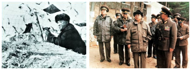 Kim Il Sung visits Mt. Taedok in 1963 (L) and Kim Jong Il visits the historical site (R) in 1996 (Photos: KCNA)