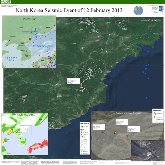 A United States Geological Survey poster showing the 12 February 2013 seismic event near the Punggye-ri nuclear test facility in North Hamgyo'ng Province (Photo: USGS)