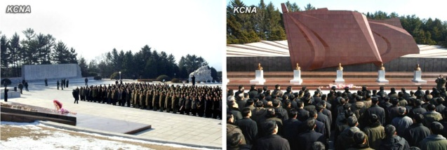 Personnel who contributed to or participated in the 12 February 2013 nuclear test pay their respects at the Revolutionary Martyrs' Cemetery in Pyongyang on 21 February 2013 (Photos: KCNA)