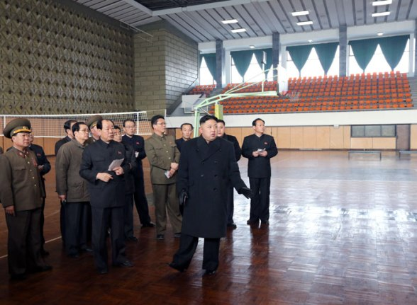 Kim Jong Un (foreground, R) inspects the Basketball Gymnasium in the Chonsgchun Street Sports Village in the Mangyo'ndae District in Pyongyang (Photo: Rodong Sinmun)