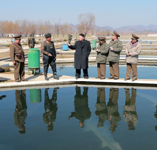 Kim Jong Un (4th R) views a fish breeding pool at the Ryongjong Fish Farm.  Also seen in this image are VMar  Choe Ryong Hae (3rd R), Gen. Kim Kyok Sik (2nd R) and Gen. Kim Yong Chol (R) (Photo: Rodong Sinmun)