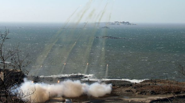 View of live fire exercises in the West (Yellow) Sea conducted by two KPa island defense units (Photo: Rodong Sinmun)