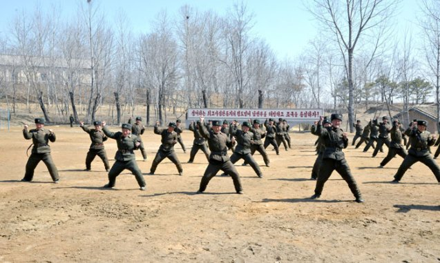 Service members of the 2nd Battalion of KPA Unit #1973 participate in a martial arts drill on 23 March 2013 (Photo: Rodong Sinmun)
