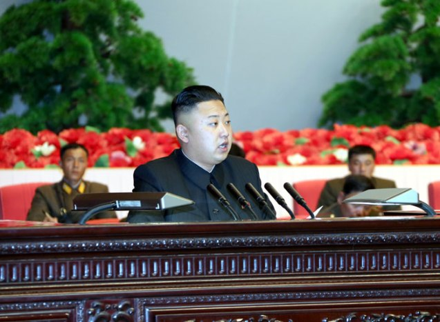 Kim Jong Un addresses the national meeting of KPA information personnel at the 25 April House of Culture in Pyongyang on 28 March 2013 (Photo: Rodong Sinmun)