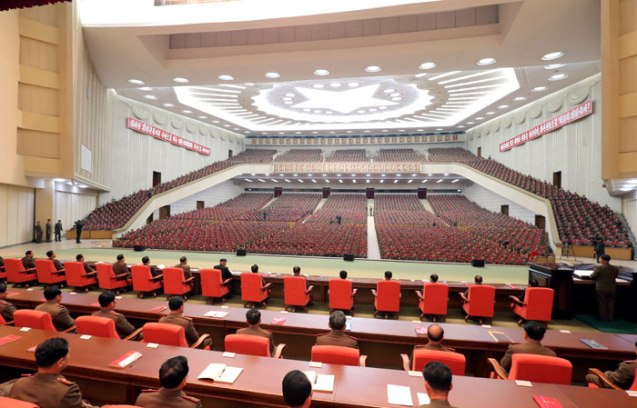 View from the platform (rostrum) at the 25 April House of Culture the venue of a meeting of KPA information personnel on 28 March 2013 (Photo: Rodong Sinmun)
