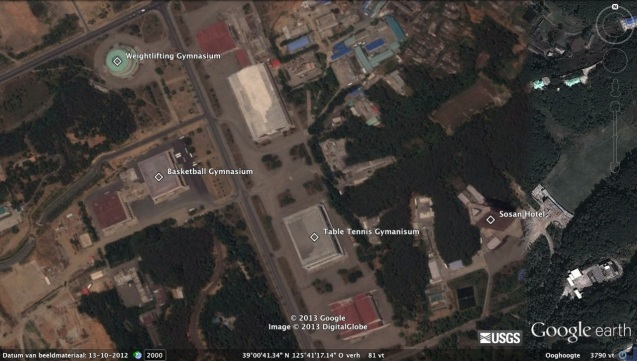 A view of sites visited by Kim Jong Un during his tour of the Chongchun Street Sports Village (Photo: Google image)