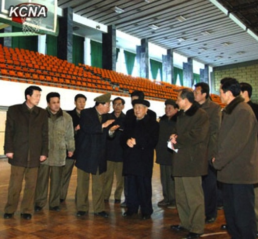DPRK Cabinet Premier Choe Yong Rim (4th L) tours the Basketball Gymnasium at the Chongchun Sports Village in Mangyongdae, Pyongyang (Photo: KCNA)