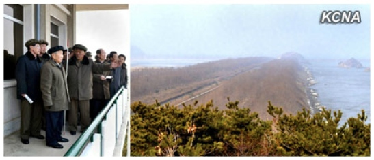 DPRK Premier Choe Yong Rim (L) examines the conveyor belt (R) of the Unryul Mine in South Hwanghae Province (Photos: KCNA)