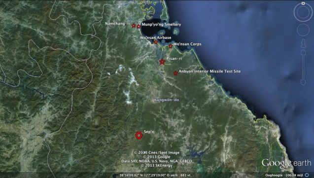 Overview of areas in Kangwon Province visited by DPRK Premier Choe Yong Rim, including the possibility he observed test launches of KN-02 short-range missiles (Photo: Google image)