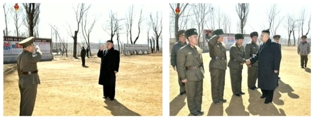 Kim Jong Un is saluted by the commander of the 2nd Battalion of KPA Unit #1973 (L) and greets commanding officers during a field inspection of the battalion on 23 March 2013 (Photo: KCTV screngrabs)
