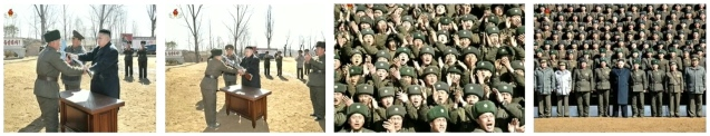 Kim Jong Un presents a machine gun, automatic rifle, is greeted by service members of the 2nd Battalion of KPA Unit #1973 and poses for a commemorative photo with them during a 23 March 2013 field inspection (Photos: KCTV screengrabs)