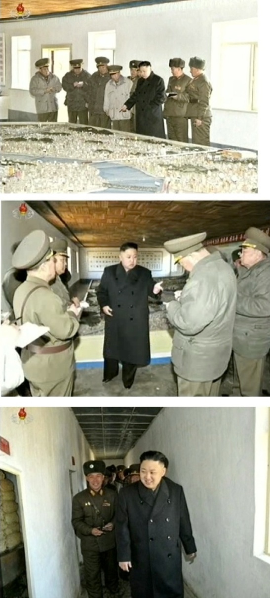 Kim Jong Un views a topographical map and reviews operations plans and tours a food storage facility during a field inspection of KPA Unit 1973's 2nd Battalion on 23 March 2013