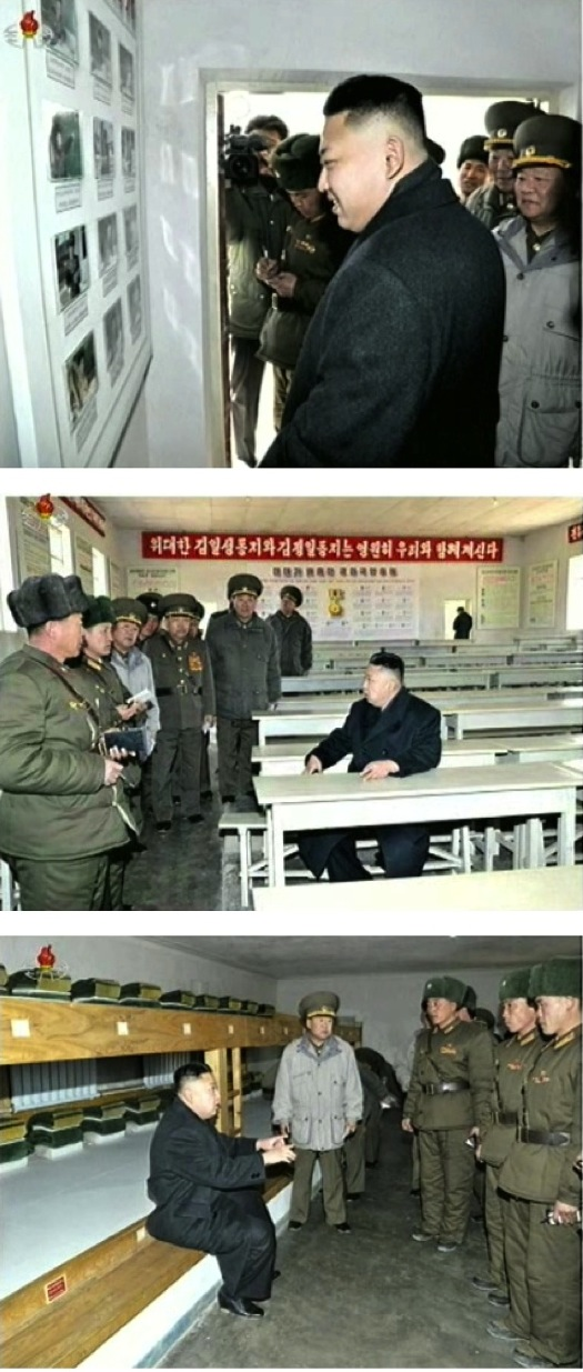 Kim Jong Un tours living quarters and a classroom of a company subordinate to the 2nd Battalion of a KPA Unit #1973, part of the country's special operations forces, on 23 March 2013
