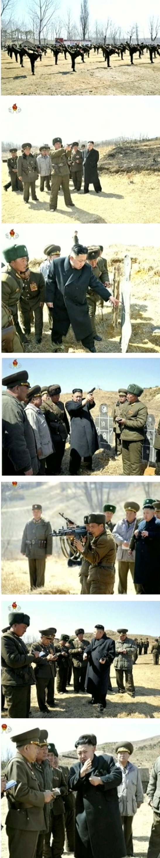 SOF personnel serving in the 2nd Battalion of KPA Unit #1973 participate in small arms drills under the command of Kim Jong Un during his field inspection of the battalion on 23 March 2013 (Photos: KCTV screengrabs)