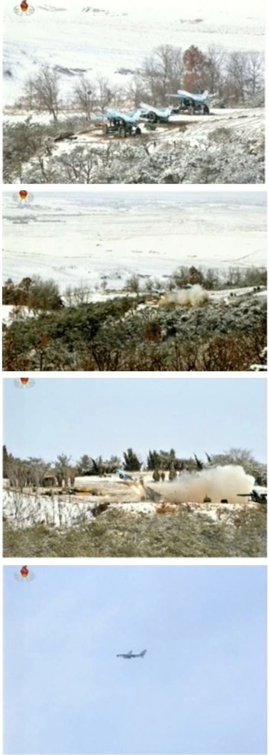 The first phase of an anti-aircraft drill utilizing what DPRK state media identified as drones (Photos: KCTV screengrabs)