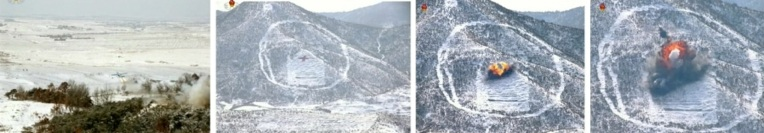 What DPRK state media identified as drones (L) hit their targets (Photos: KCTV screengrabs)