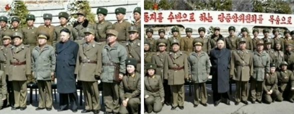 Kim Jong Un poses for commemorative photographs with KPa commanders, officers and service members who participated in live fire exercises on 20 March 2013.  Seen L of KJU is VMar Choe Ryong Hae and seen R of KJU is Gen. Ri Pyong Chol. (Photos: KCTV screengrabs)