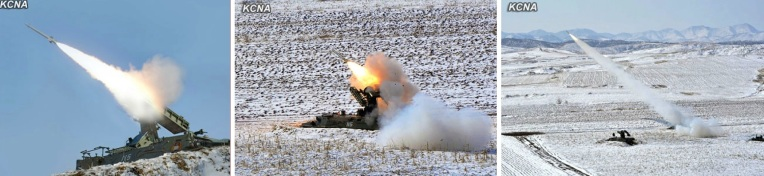 Self-propelled anti-aircraft systems fire flak rockets in a live fire drill (Photos: KCNA)