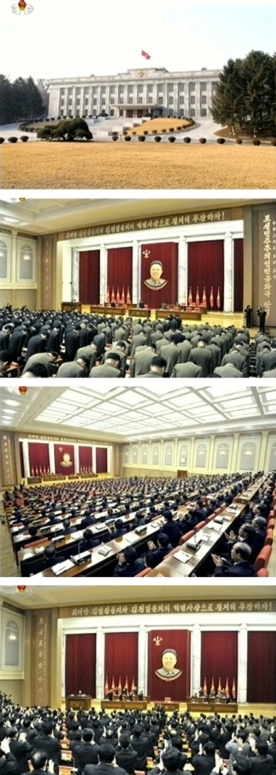 An external view of the KWP Central Committee #1 Office Building in central Pyongyang, and internal views of the venue and members and alternates of the Party Central Committee attending the 31 March 2013 KWP Central Committee plenary session (Photos: KCTV screengrabs)