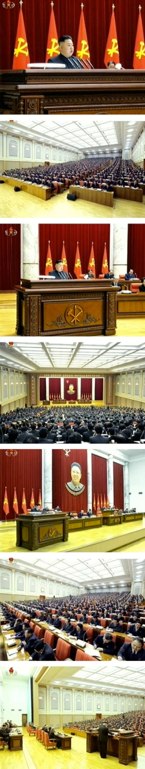 Kim Jong Un addresses members and alternates of the KWP Central Committee in Pyongyang on 31 March 2013 (Photos: KCTV screengrabs)