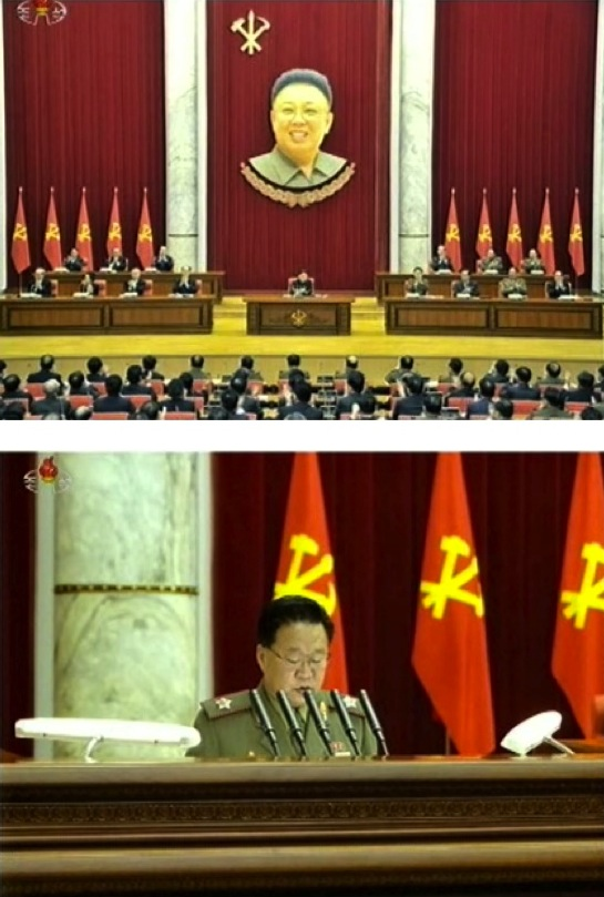 A view of the platform (rostrum) of the Party Central Committee meeting on 31 March 2013 (top) Director of the KPA General Political Department and Vice Chairman of the Party Central Military Commission, VMar Choe Ryong Hae addresses the meeting on behalf of the military (bottom) (Photos: KCTV screengrabs)
