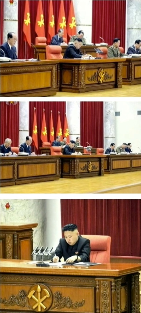 Views of the platform (rostrum) at the KWP Central Committee meeting in Pyongyang on 31 March 2013 (Photos: KCTV screengrabs)