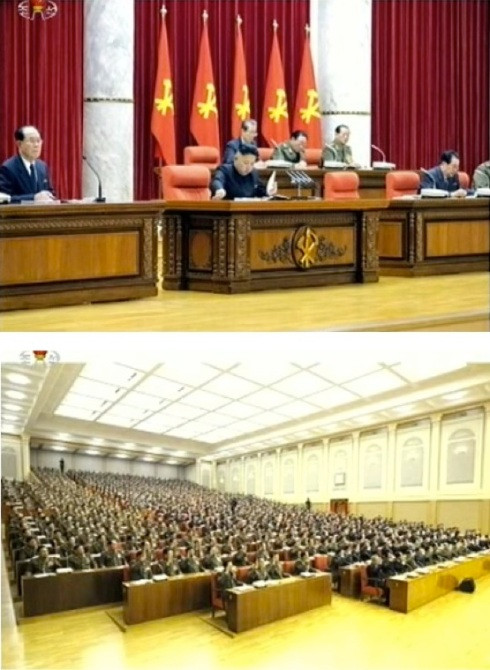 Kim Jong Un and other rostrum members read meeting documents (top) and Party Central Committee members and alternates pledge their loyalty at the end of the 31 March 2013 meeting (Photos: KCTV screengrabs)