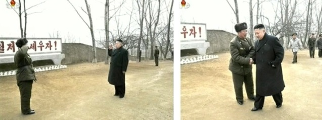 Kim Jong Un shakes hands with the commander of KPA Unit #1973 during a field inspection of the unit's command element (Photos: KCTV screengrabs)