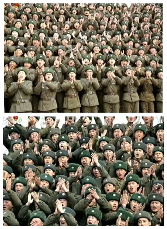 Service members and officers of the command element of KPA Unit #1973 greet Kim Jong Un, upon his arrival at the unit (Photos: KCTV screengrabs)